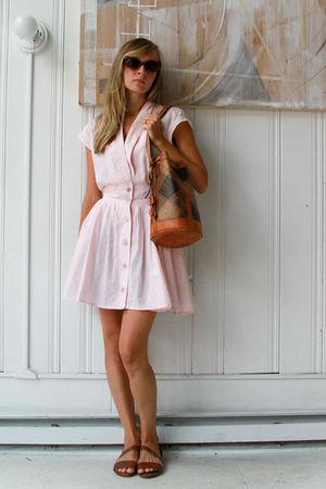 pink vintage dress - brown vintage shoes - brown vintage sunglasses - brown vint