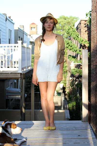beige Something Special hat - brown vintage cardigan - yellow shoes - blue vinta