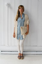 beige vintage cardigan - blue vintage blouse - white vintage leggings - blue vin