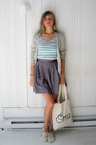 green vintage esprit shirt - gray vintage skirt - silver JCrew cardigan - white