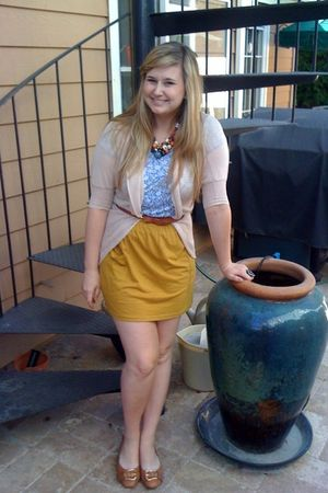blue Forever 21 dress - yellow American Apparel skirt - pink Benestar jacket - b