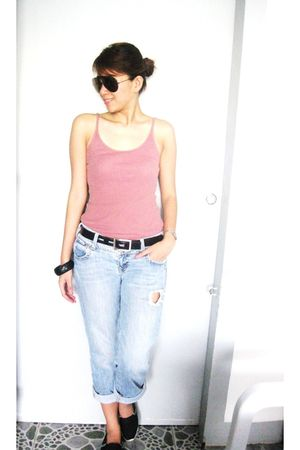 pink top - blue Old Navy jeans - black Sueo de Espadrilles shoes - black Guess b
