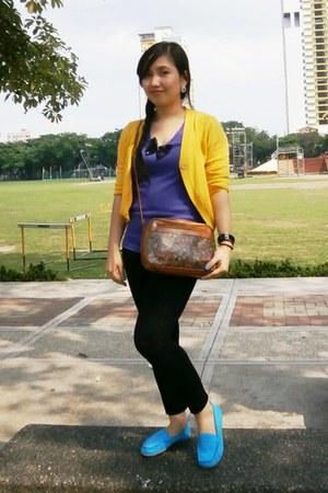 sky blue shoes - mustard blazer - purple top