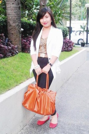 white blazer - tawny bag - red flats