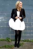 white H&M dress - black H&M jacket - black le chateau shoes