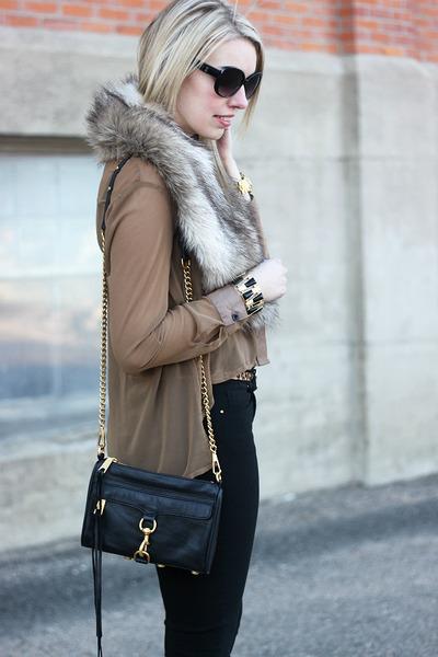 tan Sheinside blouse - neutral fur H&M scarf - black Rebecca Minkoff bag