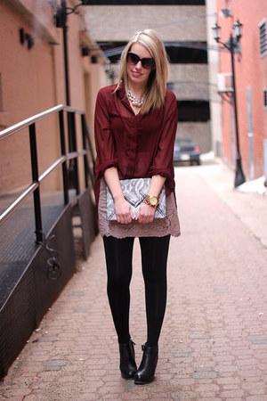 light pink Joe Fresh skirt - gray H&M bag - maroon Mink Pink blouse
