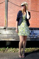green Mimi Chica dress - blue H&M blazer - beige Aldo shoes