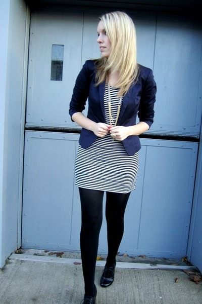 blue H&M blazer - white everly dress - black Forever21 shoes