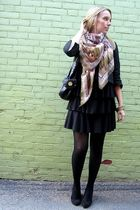 black winners dress - pink H&M scarf - black le chateau shoes - black Aldo bag -