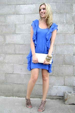 blue H&M dress - beige Aldo shoes - beige Costa Blanca purse