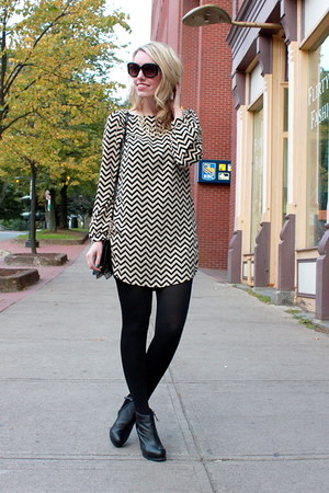 chevron everly dress - Dolce Vita boots - Aldo purse - Nine West sunglasses