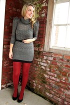 gray BB Dakota sweater - black Vero Moda skirt - burnt orange American Apparel t
