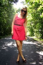 pink Old Navy dress - black payless shoes - black Joe Fresh belt - H&M bracelet