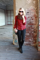 flannel Joe Fresh shirt - Dolce Vita boots - H&M jeans - leopard H&M scarf