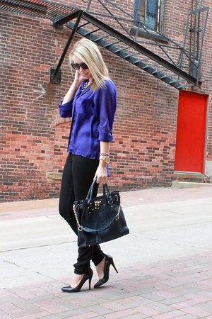 purple H&M blouse - navy Next Best Friend bag - black Aldo pumps