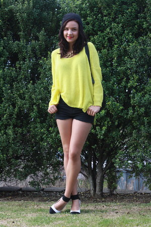 light yellow Catalogue jumper - black Glassons shorts - white - heels