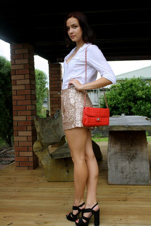 gold sequined unknown shorts - red Equip bag - black Glassons heels