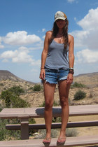 blue cut offs Levis shorts - heather gray tank American Apparel top