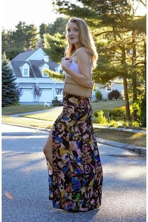 black ASTR skirt - beige calvin klein bag - white ann taylor top