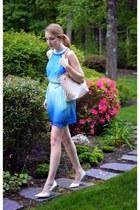 white damier azur Louis Vuitton purse - blue leather J Crew belt