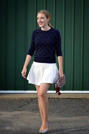 navy JCrew sweater - crimson Anthropologie bag - white Anthropologie skirt