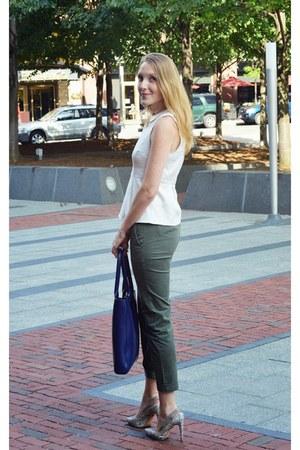 army green Gap pants - heather gray BCBG purse - white J Crew top