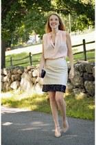 cream banana republic skirt - black BCBG bag - nude shoemint heels