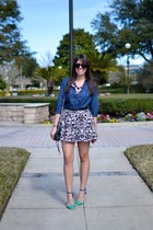H&M skirt - blue kohls shirt - black Rebecca Minkoff bag