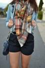 Light-blue-target-jacket-carrot-orange-zara-scarf-black-rebecca-minkoff-bag