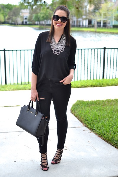 Forever 21 jeans - Lush shirt - Michael Kors purse - baublebar necklace