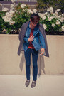 Brown-tweed-zara-coat-navy-pac-sun-jeans-tawny-zara-shirt