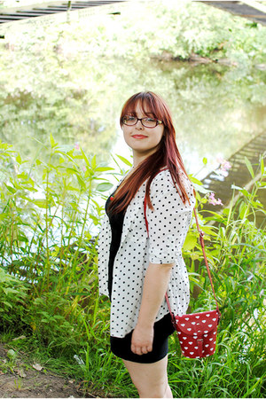 white polka dot OASAP blouse - red heart print Zatchels bag