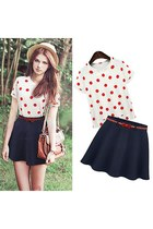 Polka Dots Short Sleeve T Shirt and Mini Skirt Set