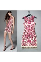 Noble Retro Contrast Color Flowers Embroidery Semi-Sheer Tunic Tank Party Dress
