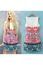 Sweet Retro Contrast Color Floral Print Crewneck Tank Dress Sundress