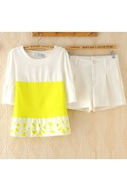 Contrast Color Laser Cut Blouse Top and Shorts Set