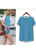 Asym Polka Dots Short Sleeve T Shirt Top