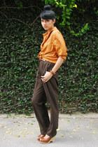 orange dotted Topshop shirt - brown Brooks Brothers pants