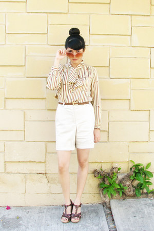 dark brown leather flexi shoes - white vintage vintage shorts - light orange vin