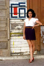 White-blouse-brown-shoes-red-belt