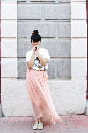 nude LOB shoes - peach shifon DIY skirt - cream cotton Mikaela blouse - ruby red