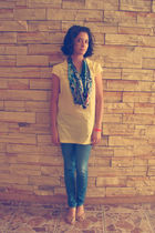 yellow blouse - blue Levis jeans - vintage scarf - shoes