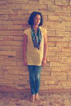 yellow blouse - blue Levis jeans - vintage scarf - shoes
