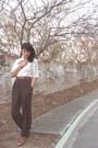 Light-pink-vintage-vintage-blouse-dark-brown-vintage-vintage-pants-brown-acc