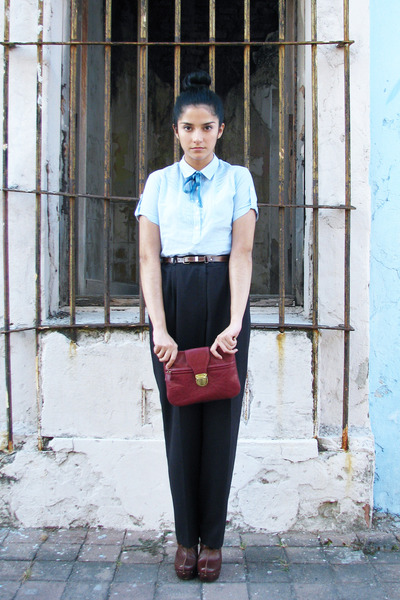 light blue cotton thats it blouse - maroon red Forever 21 bag