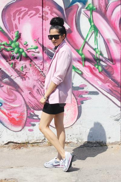 light pink cotton vintage blazer - heather gray cotton thats it shirt