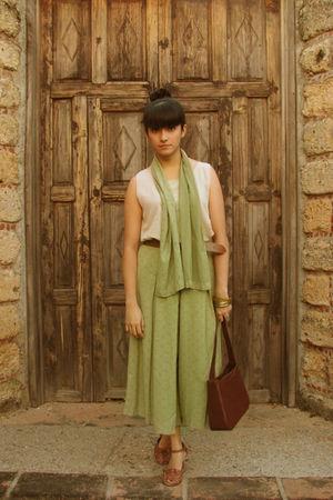 beige vintage blouse - green vintage scarf - green vintage pants - brown vintage