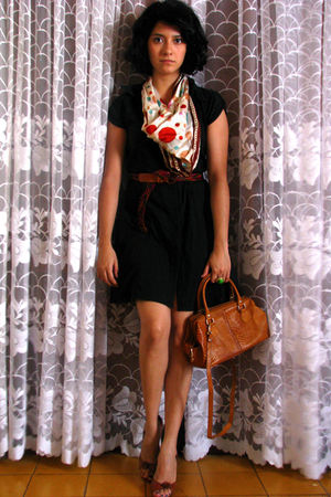 black dress - brown shoes - brown belt - beige scarf