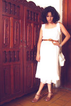 white dress - brown belt - brown shoes - white purse